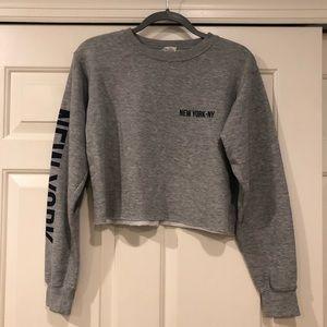Brandy melville NY grey crop hoodie